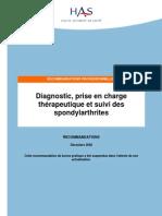 Diagnostic,Prise en Charge Trt Et Suivi Des Spondylarthrites