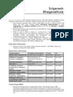 Resume Sriganesh Bhagavathula