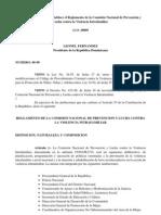 Decreto No. 96-99 que establece el Reglamento de la Comisión Nacional de Prevención y Lucha contra la Violencia Intrafamiliar