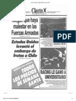 Tapa del diario clarin del dia 18 de marzo de 1991