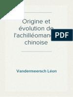 Vandermeersch Léon - Origine et évolution de l'achilléomancie chinoise