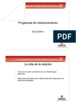 Programas de Relacionamiento - Do's and dont's
