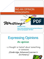 Writing an Opinion Paragraph- 02.2012.2013