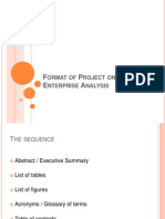 Format of Project on Enterprise Analysis