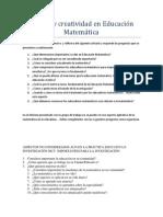 Calidad y creatividad en Educación Matemática