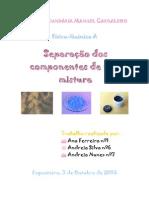 Relatório de separação de componentes de uma mistura