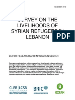 Survey on the livelihoods of Syrian refugees in Lebanon