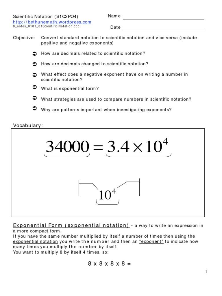 8 S1c2po4 Notes Scientific Notation Upload Exponentiation