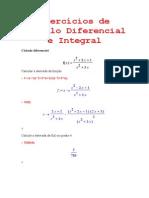 Exercícios de Cálculo Diferencial e Integral