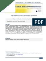 Method to Evaluate Foaming in Petroleum