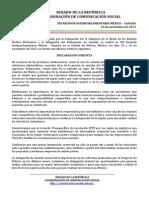 15-11-13 Declaración conjunta -  XIX Reunión Interparlamentaria México - Canadá