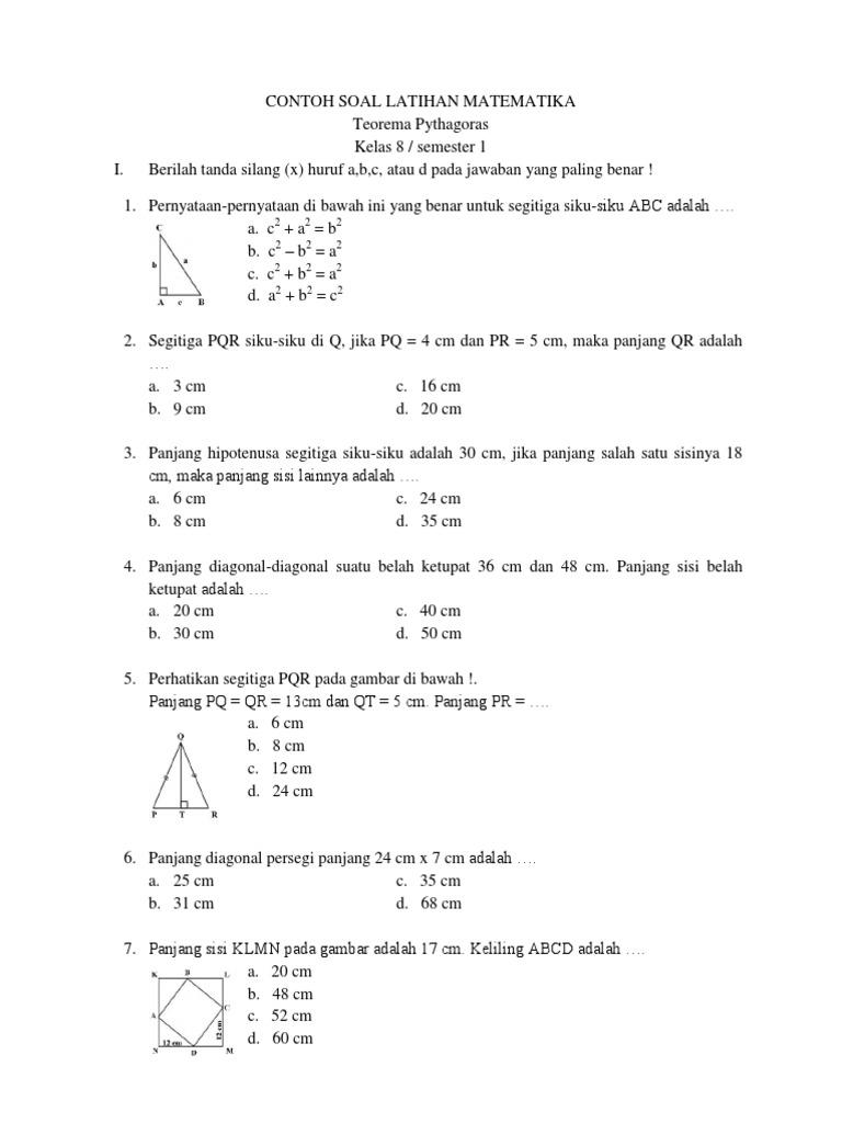 5 Contoh Soal Latihan Matematika Teorema Pythagoras Kelas 8 Smp