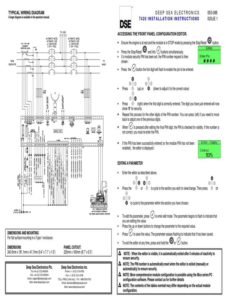 security panel wiring diagram dse7420 installation instructions mains electricity battery  dse7420 installation instructions