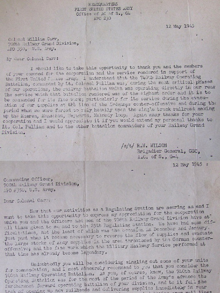 740th Letters of Commendation May 1945