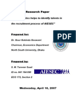 How Statistics Helps to Identify Talents in the Recruitment Process of AIESEC
