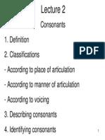 Lecture 2 - Consonants
