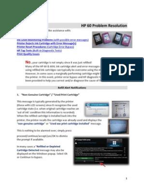 HP 60 Problem Resolution v10 | Printer (Computing) | Hewlett