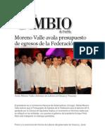 15-11-2013 Diario Matutino Cambio de Puebla - Moreno Valle avala presupuesto de egresos de la Federación