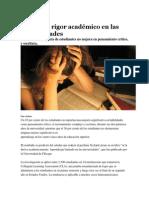Falta más rigor académico en las universidades