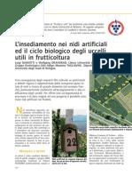 L'insediamento nei nidi artificiali ed il ciclo biologico degli uccelli utili in frutticoltura