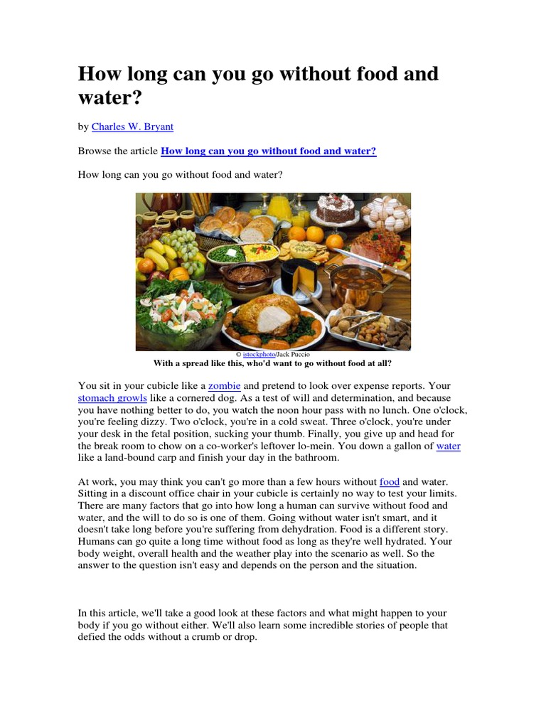 How Long Can You Go Without Food And Water Dehydration Urine