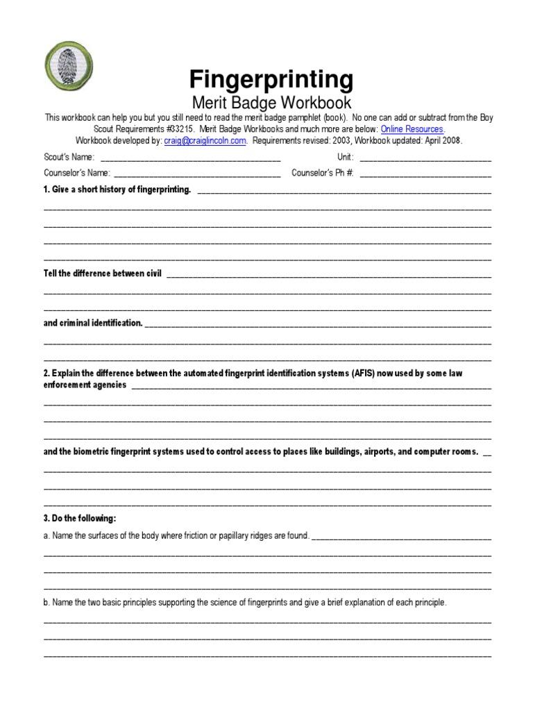 worksheet. Fingerprinting Merit Badge Worksheet. Grass Fedjp ...