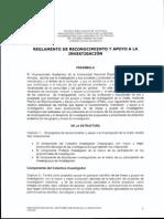 REGLAMENTO DE RECONOCIMIENTO Y APOYO A LA INVESTIGACIÓN