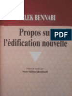 Propos Sur l'Edification Nouvelle Malek Bennabi