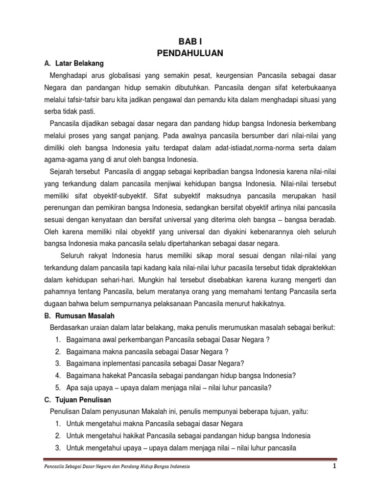 Pancasila Sebagai Dasar Negara Dan Pandangan Hidup Bangsa Indonesia