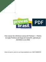 Prova Objetiva Professor i Historia Prefeitura de Duque de Caxias Rj 2002 Access