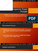 Food Inspector Exam Syllabus and Pattern