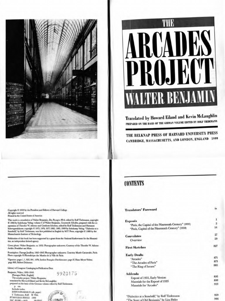 Walter Benjamin the Arcades Project 2002