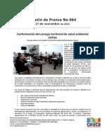 Boletín 064_Conformación del consejo territorial de salud ambiental COTSA