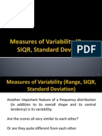 Measures of Variability (Range, SIQR, Standard Deviation)