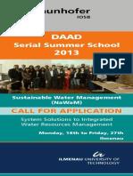 Programme DAAD Summer IWRM Ilmenau 2013