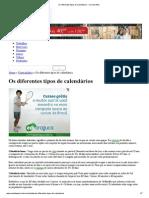 Os diferentes tipos de calendários - Cola da Web