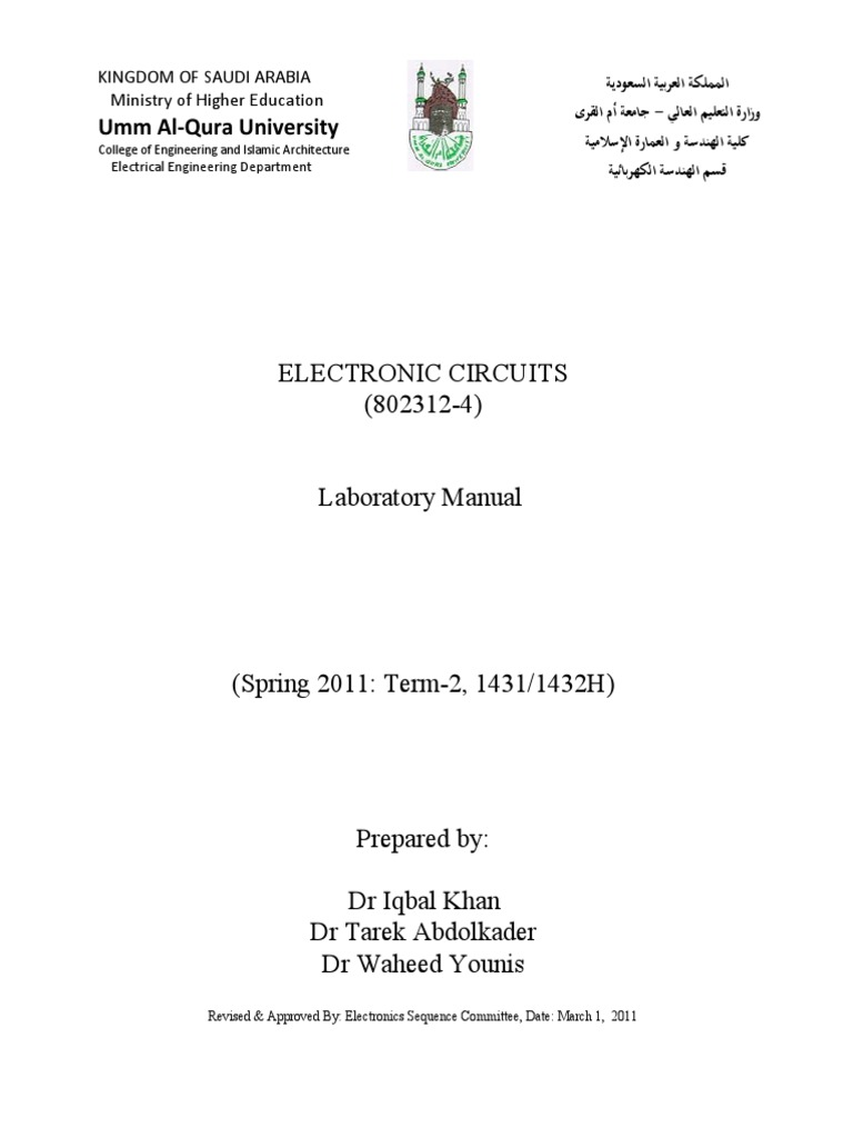 Lab Manual For Electronic Circuits Final March 13 2011 Operational At 500 Mv So The Circuit Gives Output Of About 1volt Peaktopeak Amplifier