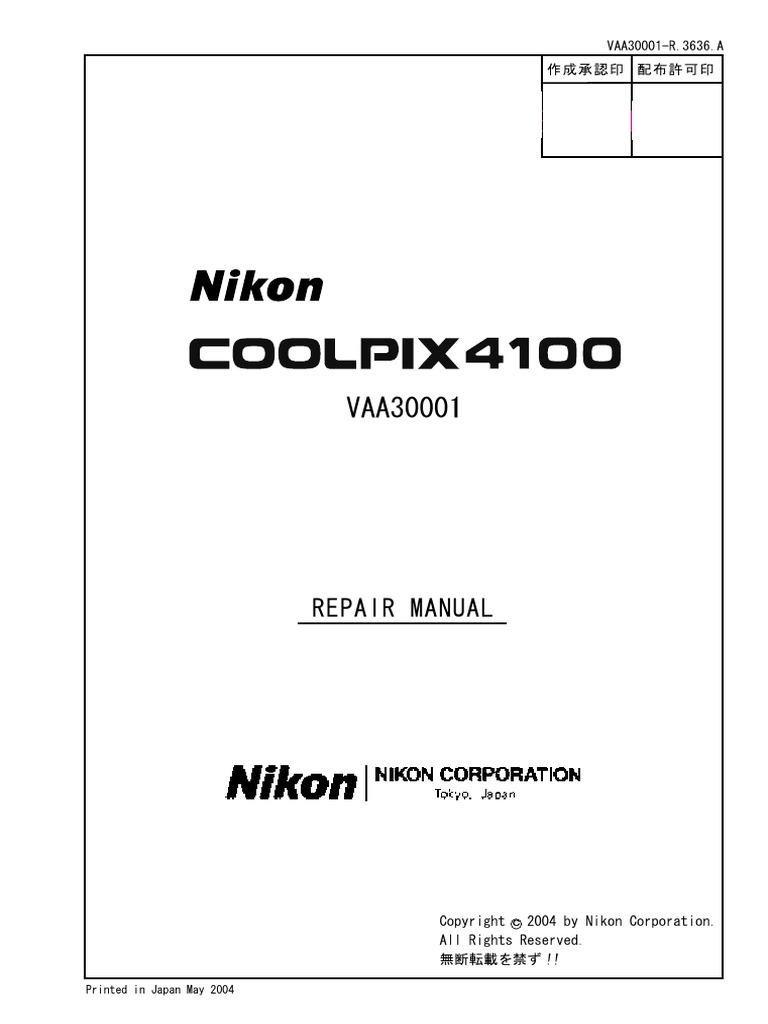 Nikon Coolpix 4100 Repair Manual
