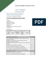 MODELO DE PLANILLA DE OBSERVACIÓN DE CLASES