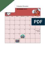 Calendario Diciembre y Enero