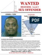 Lennell York Sex Offender Wanted Poster