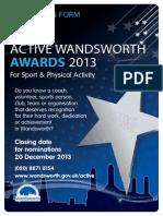 Active Wandsworth Awards 2013 Nomination Form.