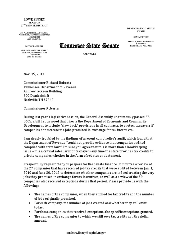 Letter from Sen  Finney re: audit of job tax credits