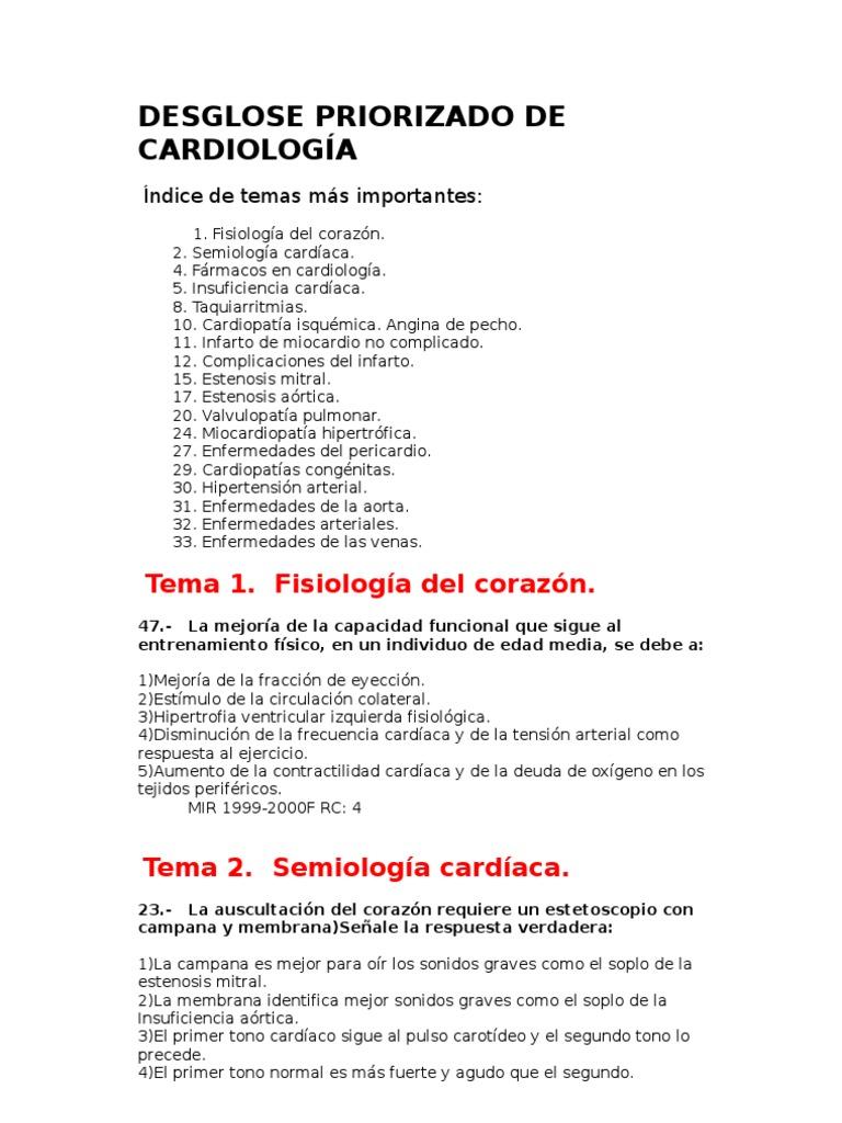 Cardiología y cirugía cardiovascular MIR