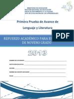 Prueba de Avance de 9 Grado - Lenguaje y Literatura 2013