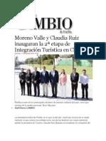 17-11-2013 Diario Matutino Cambio de Puebla - Moreno Valle y Claudia Ruiz inauguran la 2ª etapa de Integración Turística en Cholula