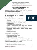 FORMATO PARA LA ELABORACIÓN DEL PLAN DE EMERGENCIA