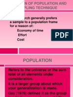 Selection of Population and Sampling Technique