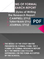 Forms of Formal Research Report