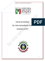Informe de Actividades Diputado Samuel Moreno Teran Noviembre 2013